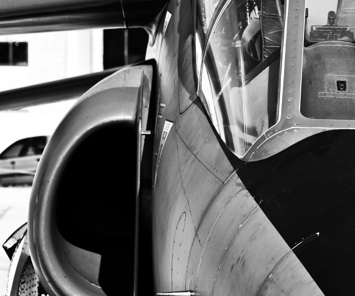 Detail from a modern jet fighter here shown in monochrome